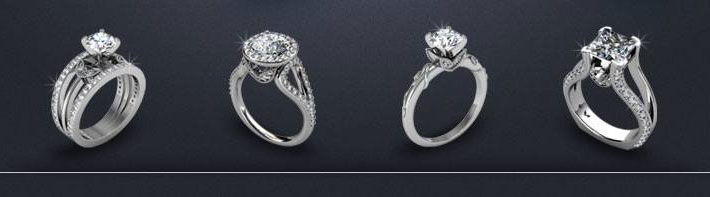 Intersecting Hearts Rings