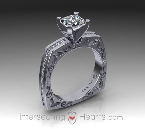 Intersecting hearts ring